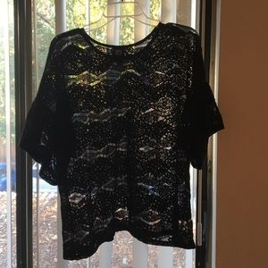 Black Lace Bobeau Top